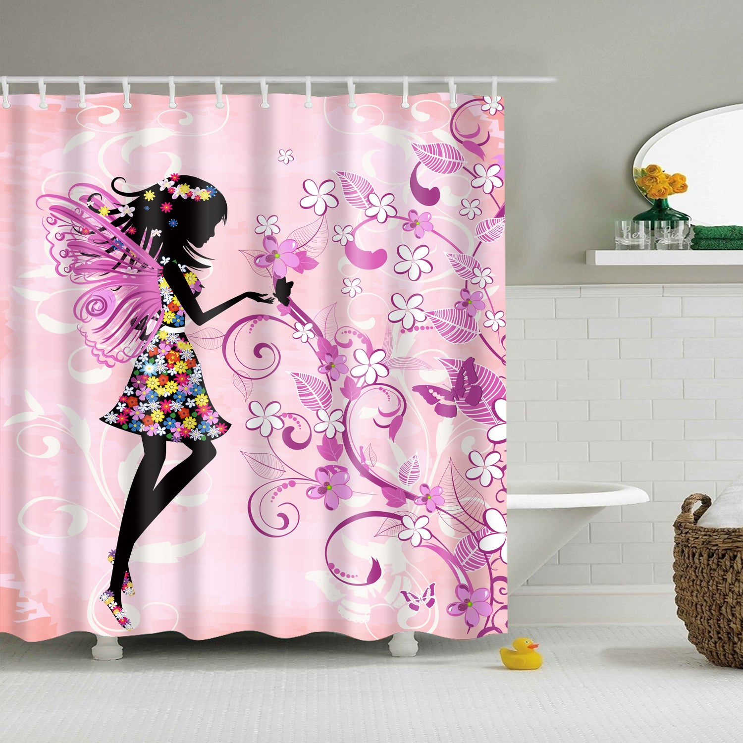 Fairy Girl Pink Butterfly Shower Curtain | GoJeek