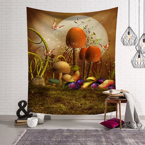 Fairy Tale World Butterfly with Mushroom Tapestry
