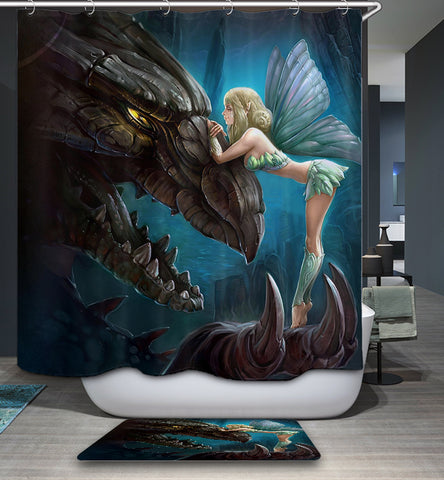 Fairy World Dragon with Elf Shower Curtain