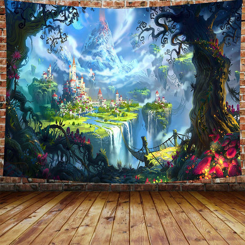 Fairy World Red Fort Mountain Castle Tapestry