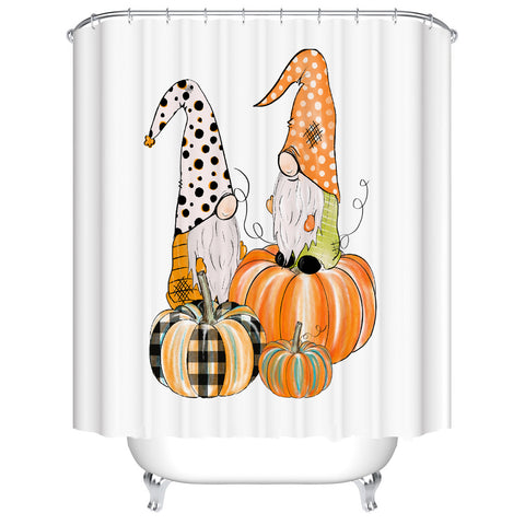 Fall Holiday Pumpkins Harvest Thanksgiving Cartoon Gnomes Shower Curtain