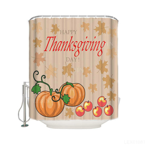 Fall Maple Leaves Pumpkins with Apples Thanksgiving Quote Holiday Cartoon Pumpkin Shower Curtain