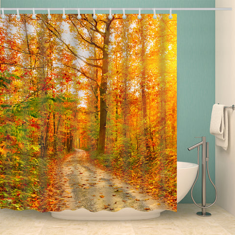 Fall Autumn Season Yellow Deciduous Leaves Path Shower Curtain