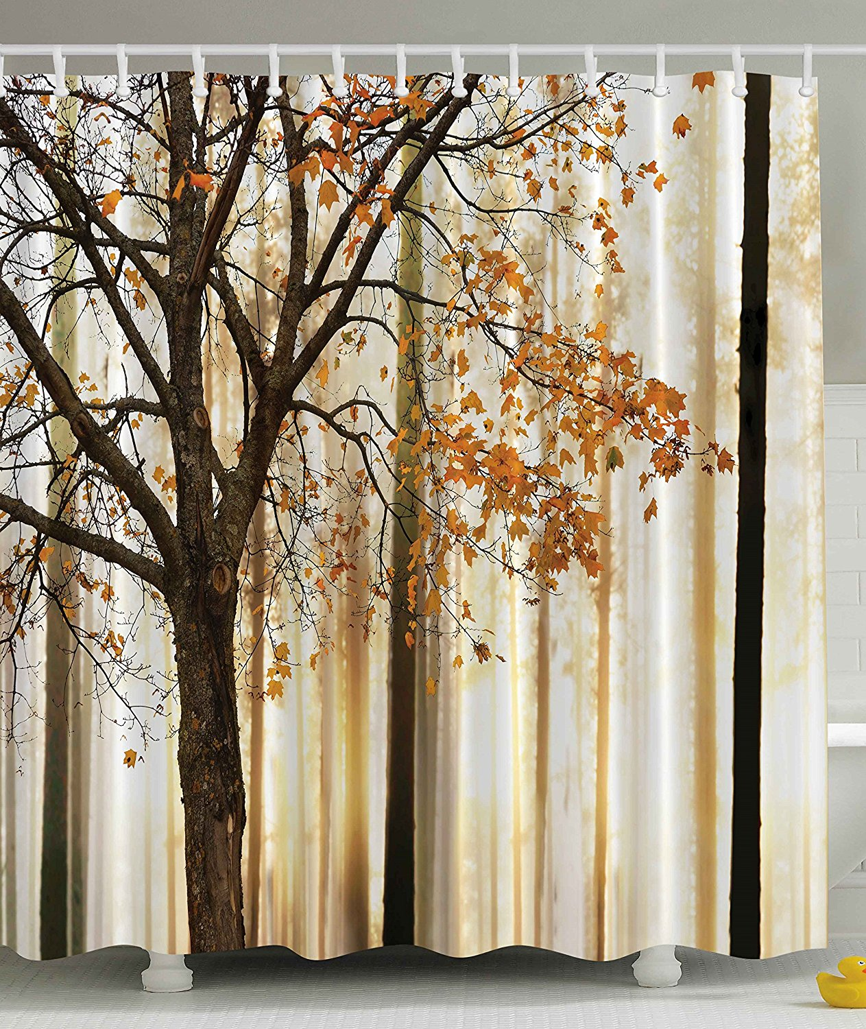 Fall Tree Shower Curtain Autumn Brown Bath Decor | GoJeek