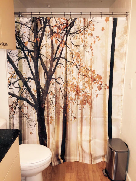 Fall Tree Shower Curtain Autumn Brown Bathroom Decor