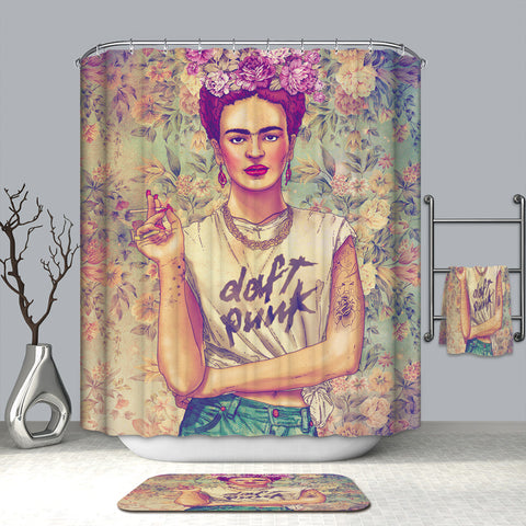 Famous Art Design Floral Frida Kahlo Doccia Curtain