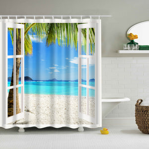 Fancy Balcony Seascape Shower Curtain