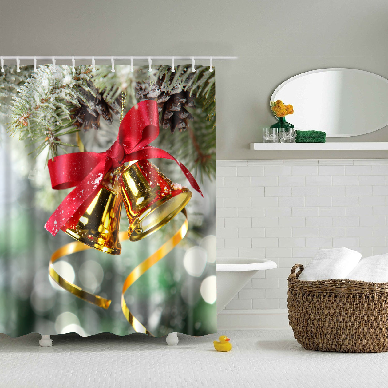 Fancy Look Hanging Christmas Jingle Bell Shower Curtain