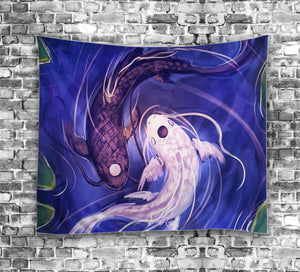 Fancy Look Taoism Yin Yang Koi Fish Tapestry