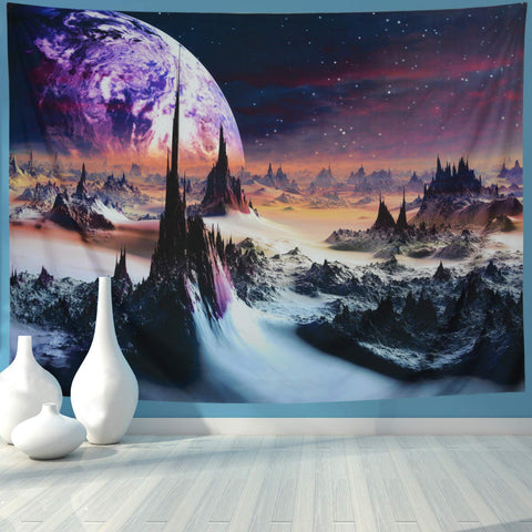 Fantasy Alien Planet Unique Rocks Sky Space Tapestry