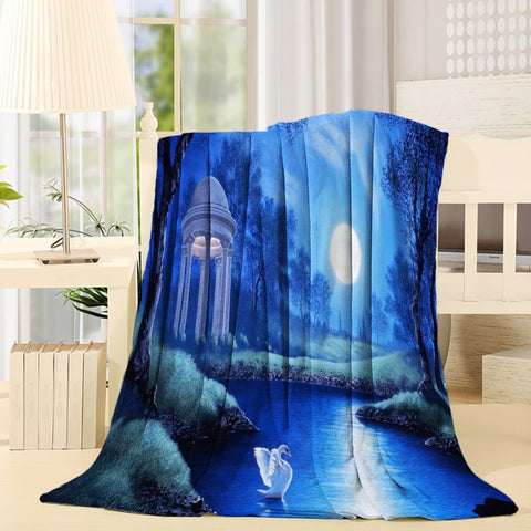 Fantasy Dream World Moon Lake with Swan Throw Blanket