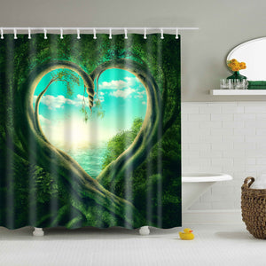 Fantasy Forest Magic Heart Tree Shower Curtain