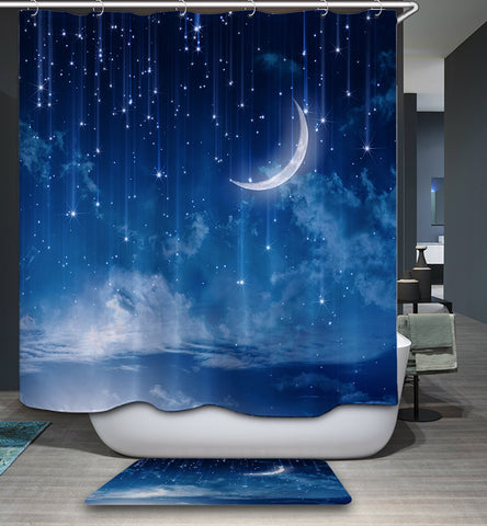 Fantasy Sky Sweet Night Blue Moon Shower Curtain