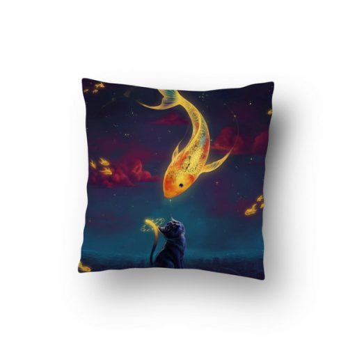 Fantasy World Cat with Fish Spirit Throw Pillow Cover