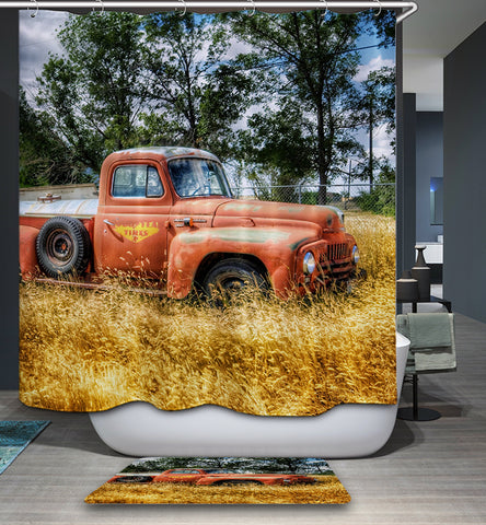 Farm Golden Paddy Field Pink Retro Truck Shower Curtain