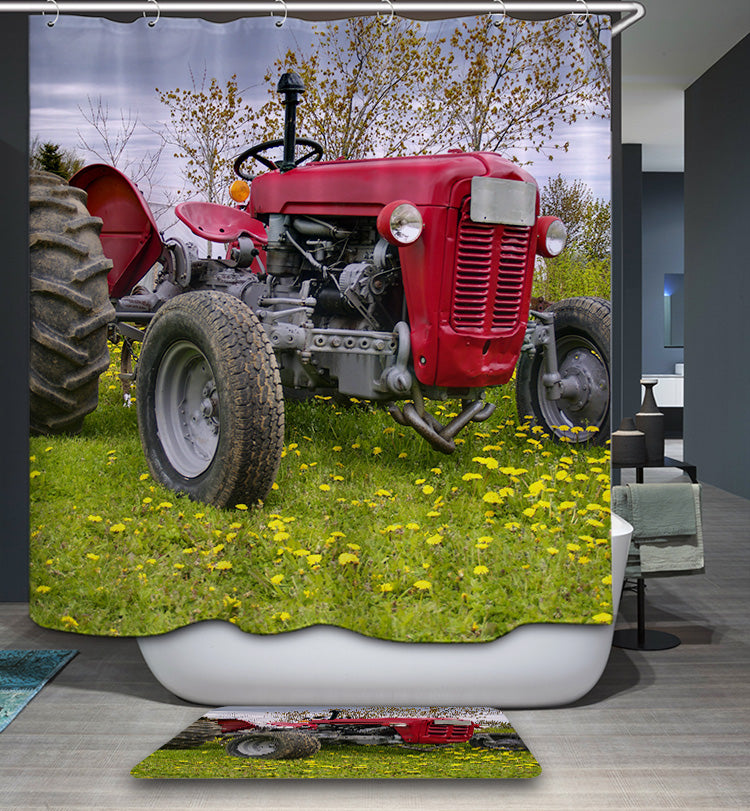 Farm Red Tractor Shower Curtain