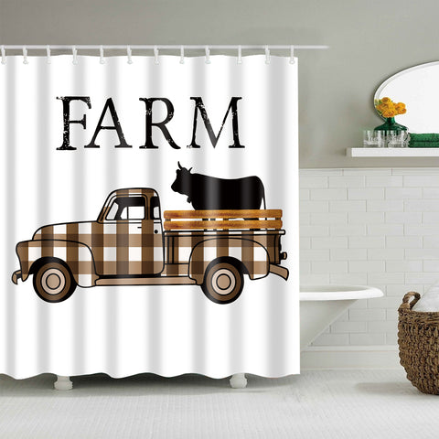 Farmers Car Truck Carrying Cow Shower Curtain