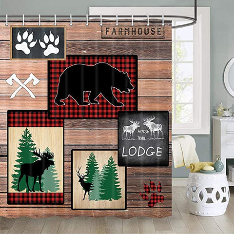 Farmhouse Cabin Lodge Wood Print Shower Curtain