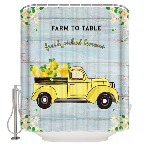 Farm to Table Barn Door Print Fresh Lemon Yellow Truck Shower Curtain