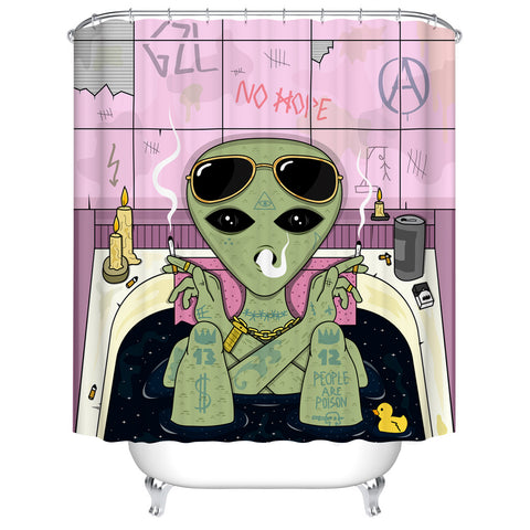 Fashion Resident Alien Bathing Funny Cartoon Drawing Art Shower Curtain