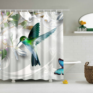 Feeding on Floral Hummingbird Shower Curtain | GoJeek