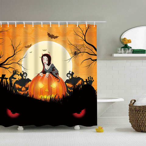 Female Vampire With Pumpkin Bats Halloween Night Shower Curtain