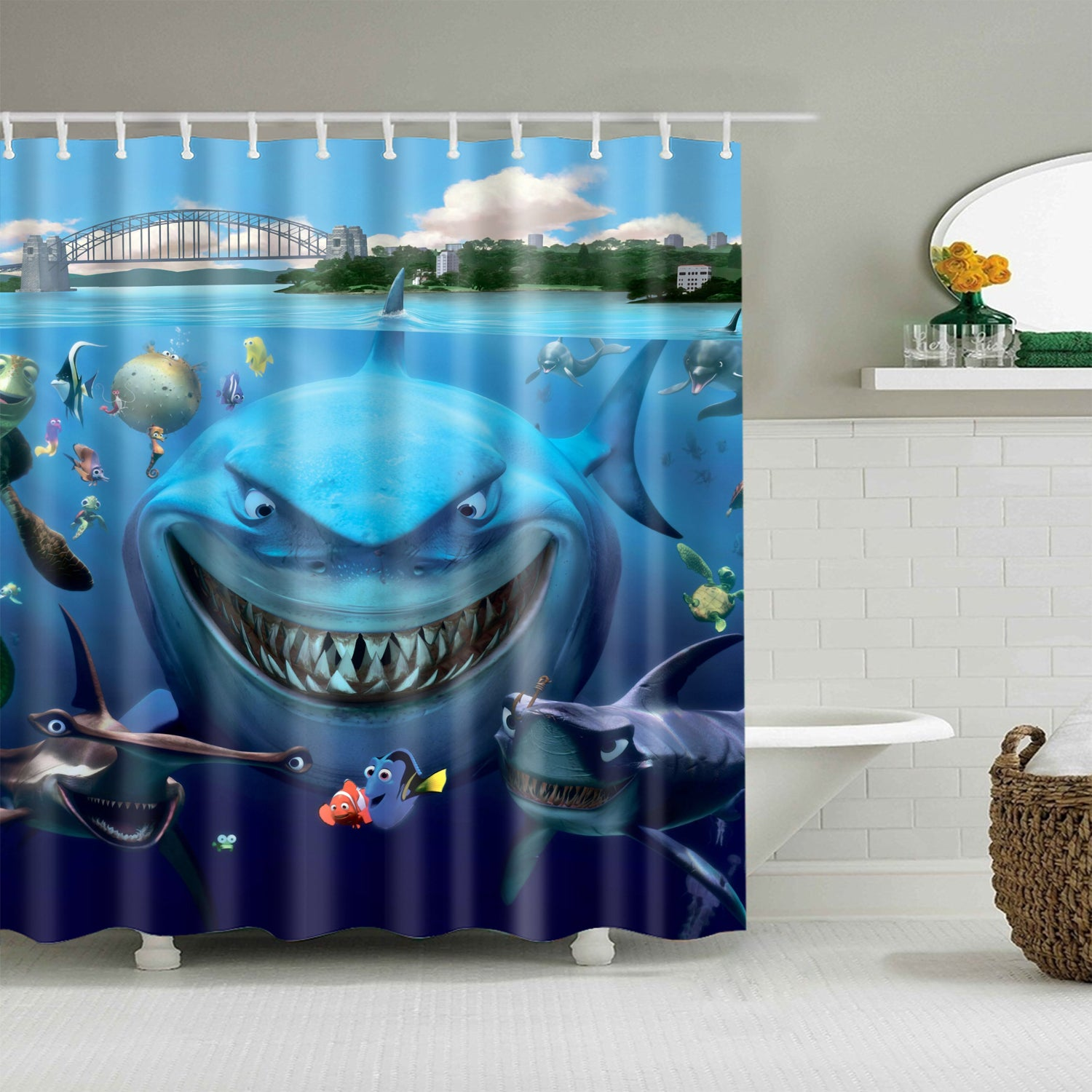 Finding Nemo Cartoon Movie Poster Marine Shark Shower Curtain