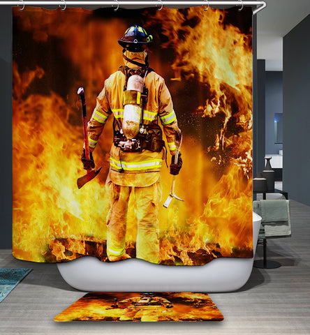 Fireman Back View Firefighter Shower Curtain