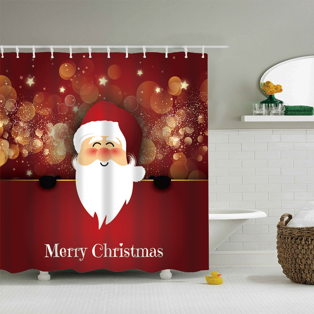 Fireworks with Santa Smiling Shower Curtain