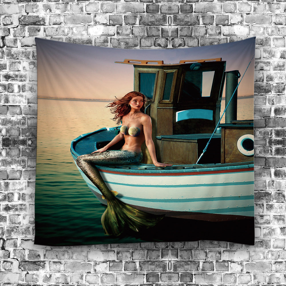 Fishing Boat with Mermaid Design Tapestry
