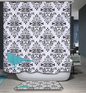 Flora Seamless Damask Pattern Shower Curtain