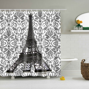 Floral Pattern Backdrop Eiffel Tower Figurine Shower Curtain