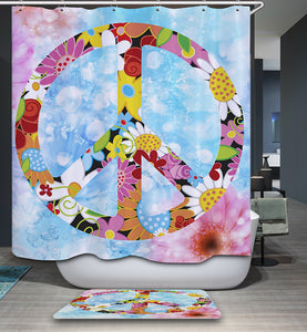 Floral Symbol World Day Of Peace Shower Curtain | GoJeek