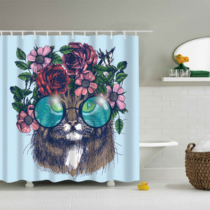 Floral Wreath with Sunglasses Cat Shower Curtain