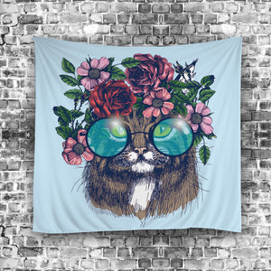 Floral Wreath with Sunglasses Cat Tapestry