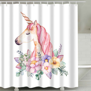Flower Unicorn Shower Curtain
