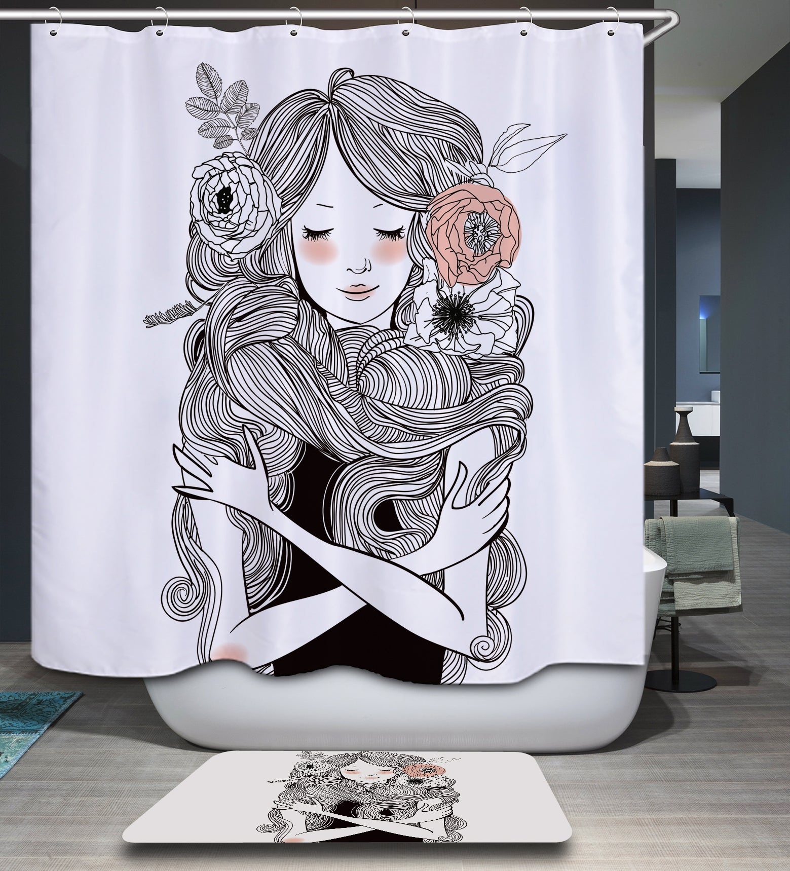 Flower and Floral Girl Shower Curtain