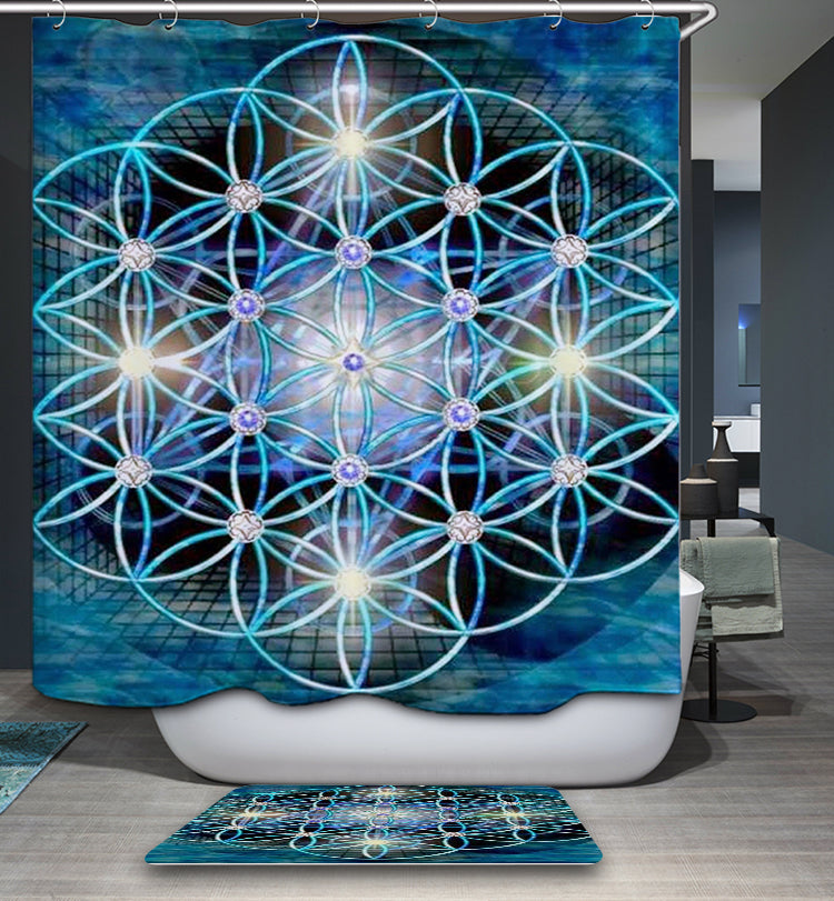 Flower of Life Metatron Cube Shower Curtain