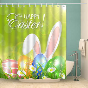 Flower with Eggs Greeting Easter Holiday Shower Curtain