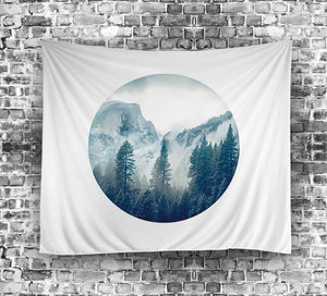 Foggy Mountain Circle Wall Tapestry