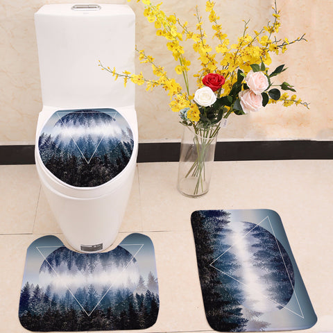Forest Mountain Geometry Toilet Seat Cover