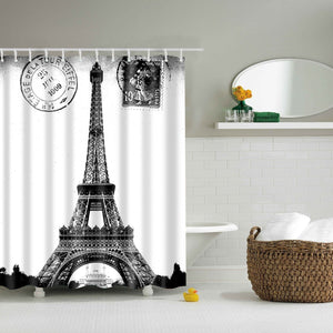 France Eiffel Tower Poster Black White Shower Curtain | GoJeek