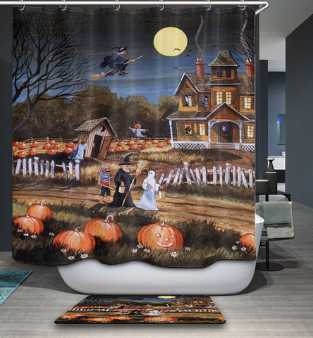 Freaky Halloween Folks with Ghost Shower Curtain
