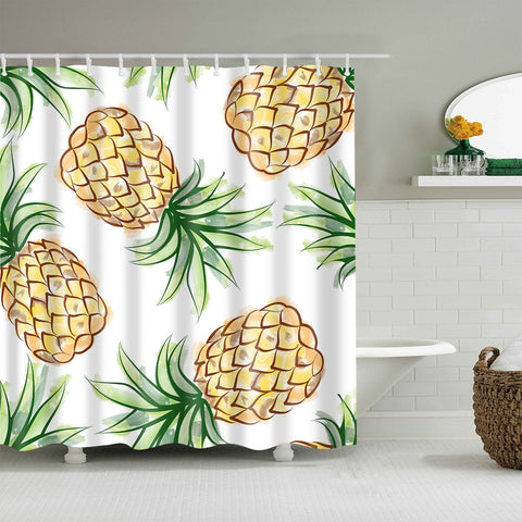 Fresh Tropical Fruit Seamless Pineapple Shower Curtain