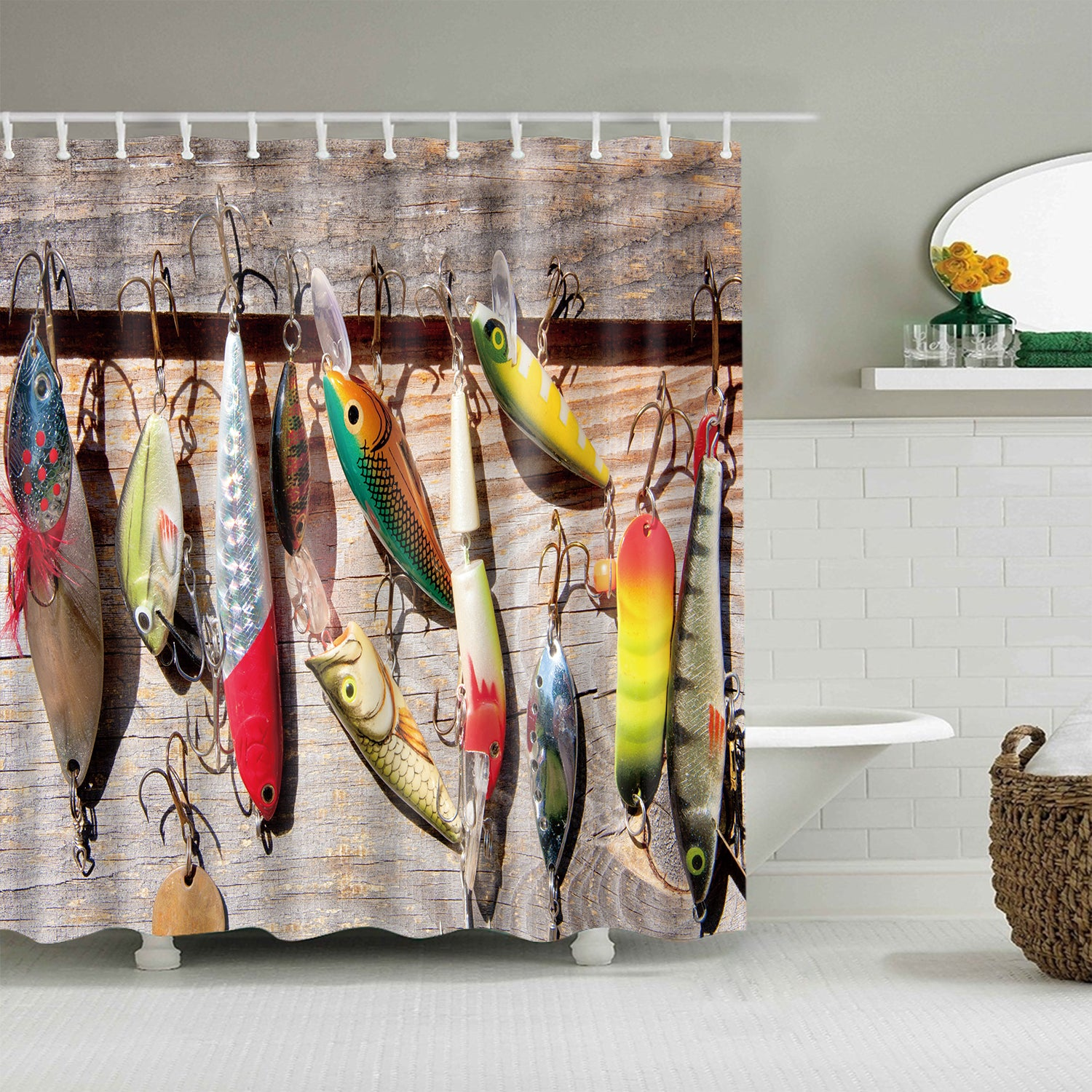 Freshwater Bait and Lures Fishing Gear Shower Curtain