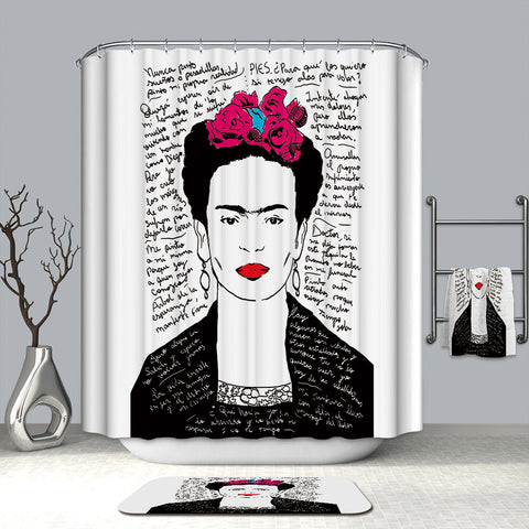 Frida Kahlo Illustration Quotes Curtain Shower