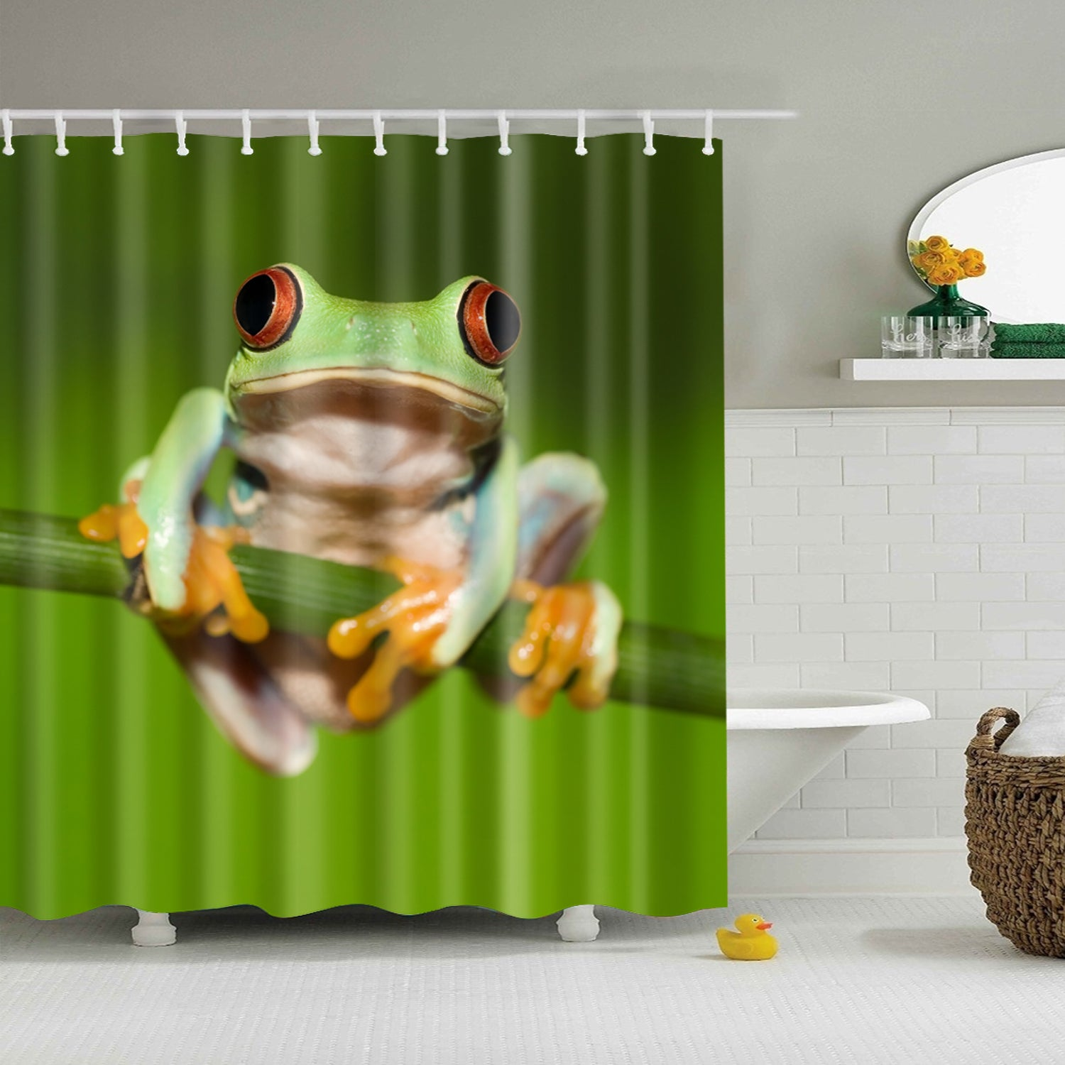 Frog Holding On Twig Nature Shower Curtain