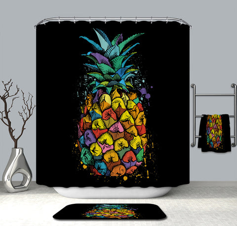 Fruit Colorful Pineapple Shower Curtain