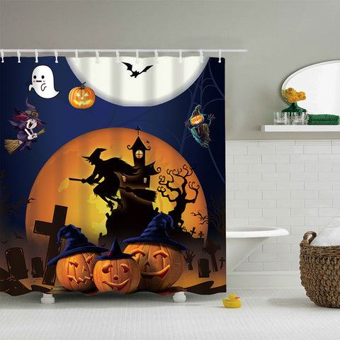 Full Moon Ghost Halloween Party Shower Curtain