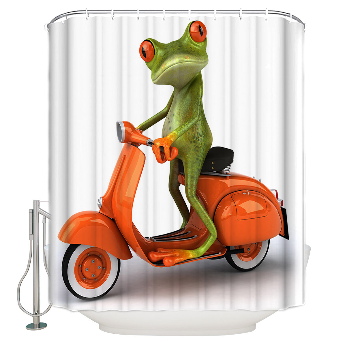 Funny Animal Cartoon Frog on Scooter Shower Curtain